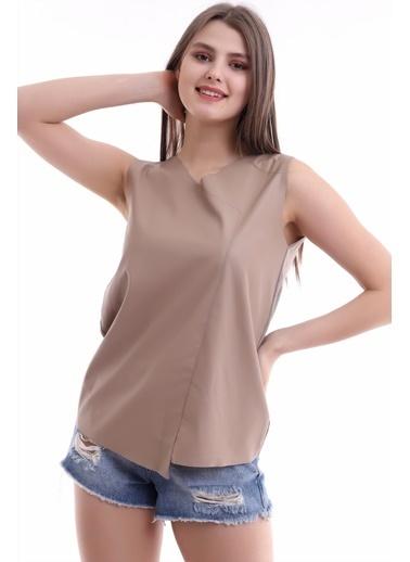 Cottonmood 21112111 Önü Deri Arkası Triko Kolsuz Bluz Vizon
